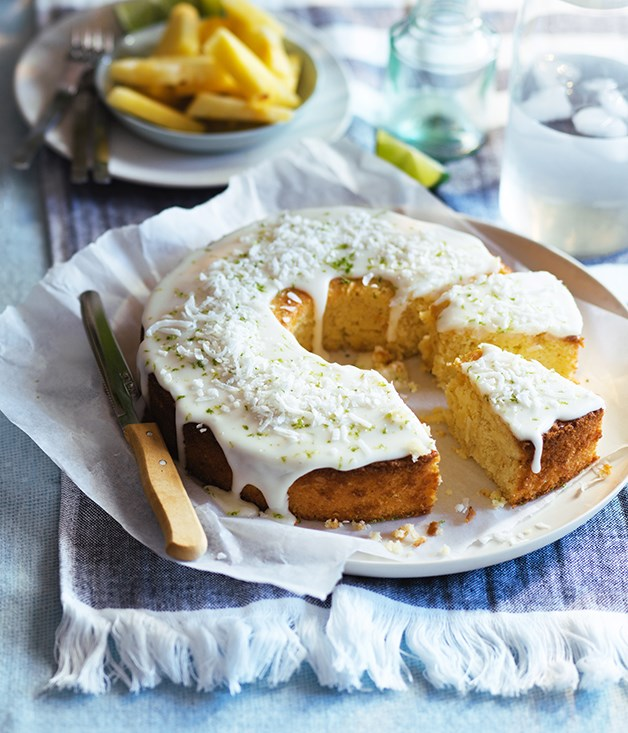 """[Lime and coconut cake with pineapple glaze](https://www.gourmettraveller.com.au/recipes/browse-all/lime-and-coconut-cake-with-pineapple-glaze-12944