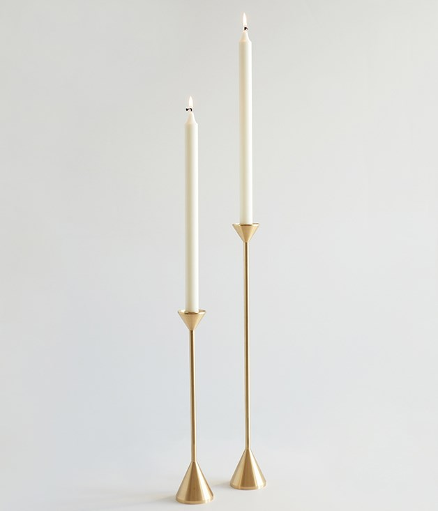 **Fort Standard candle holder** It's no secret that candlelight makes for an intimate mood. And when you add candlesticks as elegant as these, it's a winning formula. Designed in Brooklyn, the timeless brass finish, clean lines and dramatic height of these holders add up to love at first sight._[sorrythanksiloveyou.com](http://sorrythanksiloveyou.com/), $220._