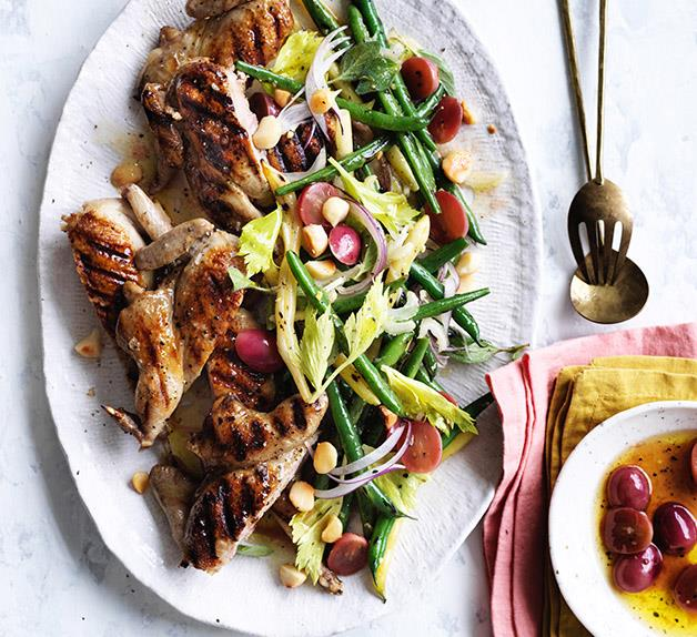 Barbecued quail with grapes, beans and macadamia nuts