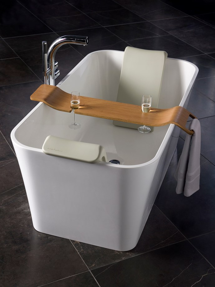 **Tombolo bath rack** A rack that holds two wine glasses with enough room for oysters, caviar or a small wedge of your favourite cheese plus a handy spot to keep your towel within reach? What will they think of next?_[vandabaths.com](https://vandabaths.com/en/),$545._