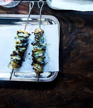 Grilled southern calamari and ink sticks by David Moyle