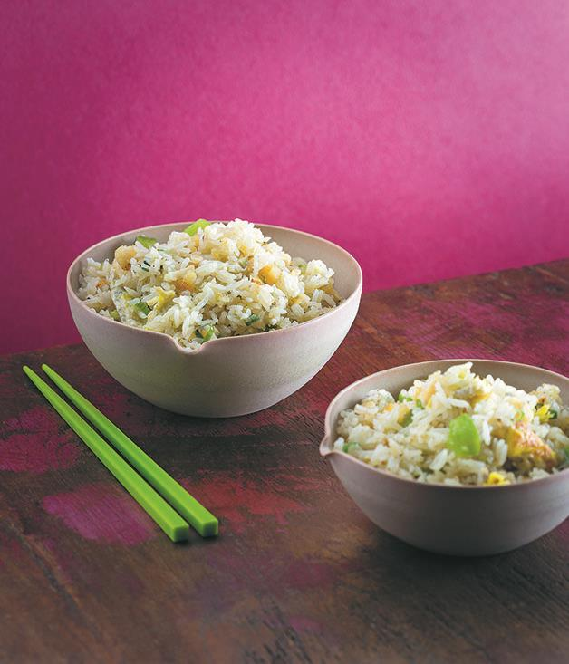 "**[Macanese fried rice with cod](https://www.gourmettraveller.com.au/recipes/chefs-recipes/macanese-fried-rice-with-cod-15637|target=""_blank"")**"