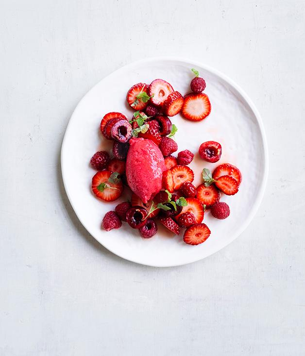 "[Strawberry, cherry and raspberry salad with raspberry sorbet](http://www.gourmettraveller.com.au/recipes/browse-all/strawberry-cherry-and-raspberry-salad-with-raspberry-sorbet-12949|target=""_blank"")"