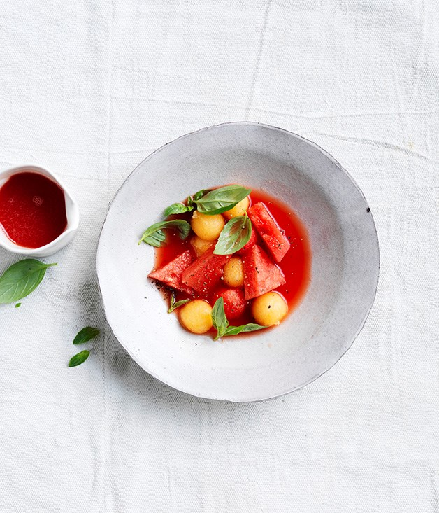 "[Melon gazpacho with basil](https://www.gourmettraveller.com.au/recipes/browse-all/melon-gazpacho-with-basil-15539|target=""_blank"")"