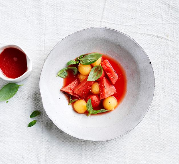Melon gazpacho with basil