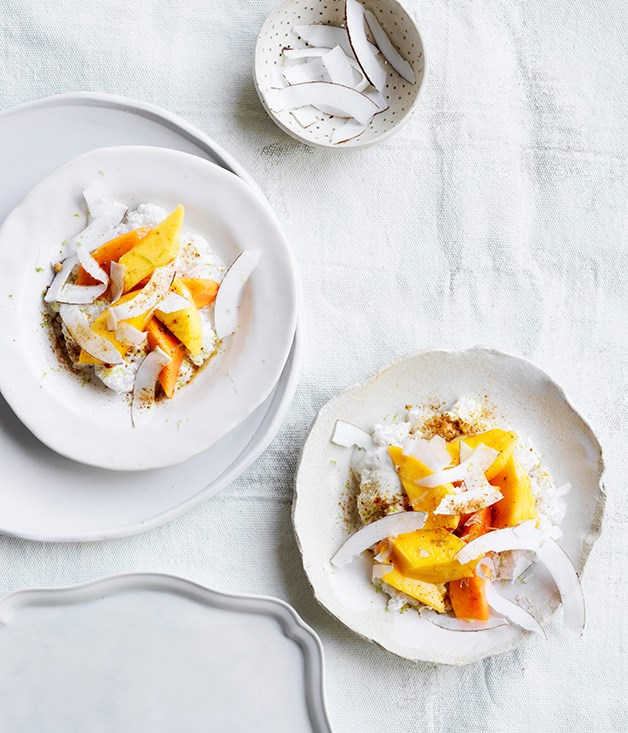 "[Mango, papaya and chilled coconut tapioca](https://www.gourmettraveller.com.au/recipes/browse-all/mango-papaya-and-chilled-coconut-tapioca-12961|target=""_blank"")"