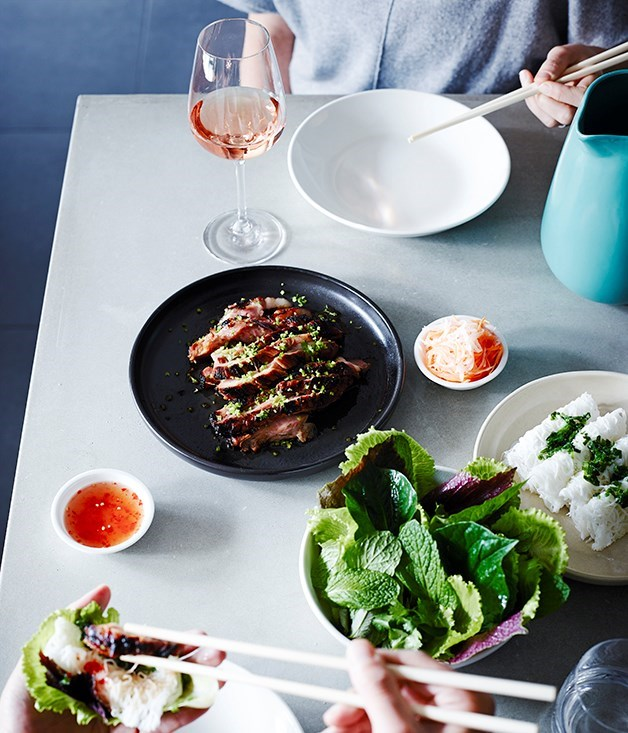 **Pork neck with herbs and banh hoi noodles**