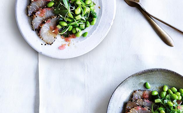 Sesame kingfish sashimi with ponzu and finger lime