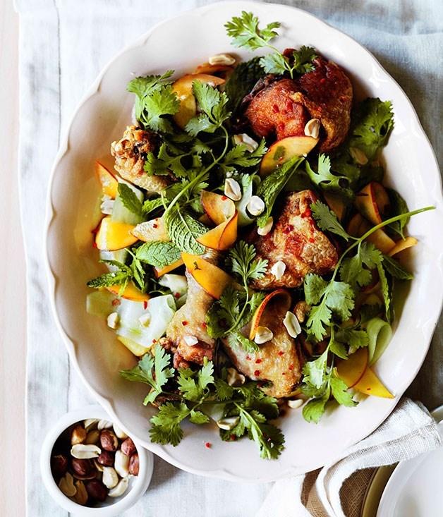 **Crisp-skinned Vietnamese chicken with peaches**