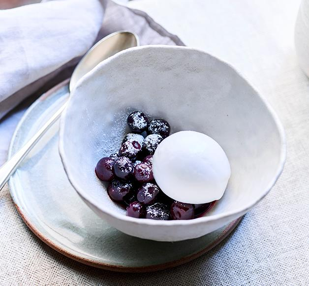 Coconut sorbet, blueberries and rosemary