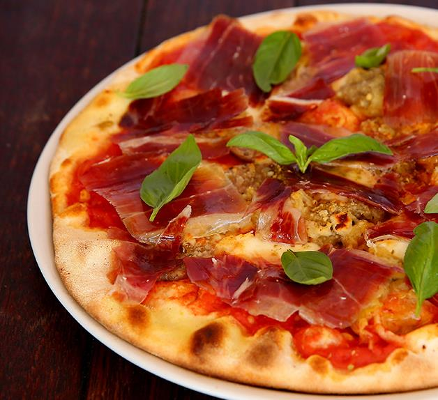Joe Pavlovic's pork sausage, jamon and eggplant pizza