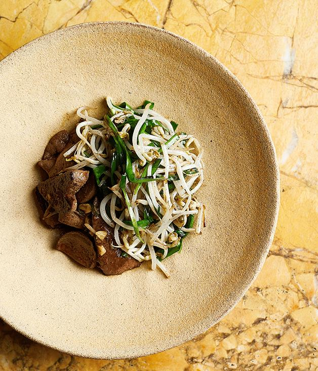 "[Thi Le's (Anchovy's) stir-fry of pork liver, garlic chive and beansprouts](https://www.gourmettraveller.com.au/recipes/chefs-recipes/thi-lis-stir-fry-pork-liver-garlic-chive-and-beansprouts-8564|target=""_blank"")"