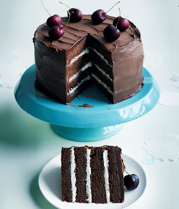 "**[Fudgy chocolate-cherry cake](https://www.gourmettraveller.com.au/recipes/browse-all/fudgy-chocolate-cherry-cake-12607|target=""_blank"")**"