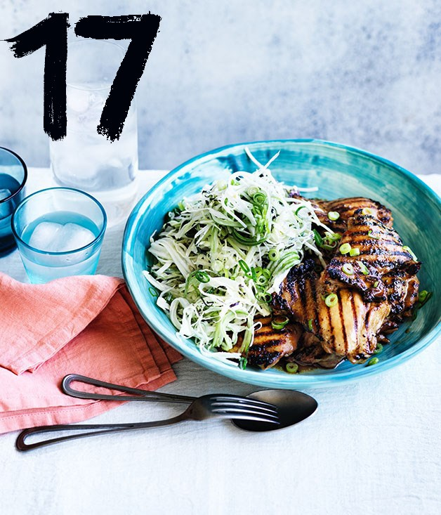 "**[Chicken teriyaki with wasabi slaw](https://www.gourmettraveller.com.au/recipes/fast-recipes/chicken-teriyaki-with-wasabi-slaw-13867|target=""_blank"")** <br><br> To add that hibachi flavour without the fuss, char the marinated chicken on a wire rack set over a gas flame instead of in a pan before you roast it (it will need a little longer in the oven)."
