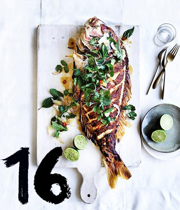 "**[Barbecued lemongrass snapper with pomelo and herb salad](https://www.gourmettraveller.com.au/recipes/browse-all/barbecued-lemongrass-snapper-with-pomelo-and-herb-salad-12943|target=""_blank"")** <br><br> A whole roasted fish is a fuss-free way to cook seafood for a crowd. We like to marinate the fish overnight so the flavour gets right into the flesh, and it's one less thing to do on the day. The salad dressing can be made a day ahead, have the herbs ready and stored in an airtight container, steam some rice and you're good to go."