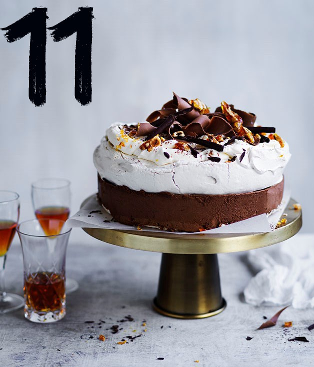 "**[Frozen spiced chocolate pavlova](https://www.gourmettraveller.com.au/recipes/browse-all/frozen-spiced-chocolate-pavlova-12954|target=""_blank"")** <br><br> This double-layer pavlova is perfumed with cloves, cinnamon and nutmeg, which marry beautifully with the chocolate semifreddo sandwiched in between. It's the perfect do-ahead festive crowd-pleaser. Begin this recipe a day ahead to freeze the semifreddo."