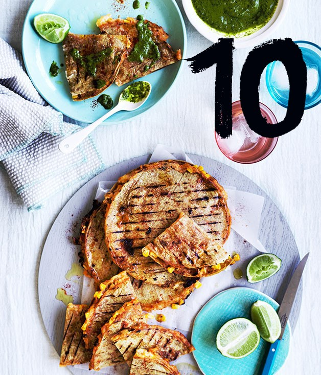 "**[Corn and potato quesadillas with green salsa](https://www.gourmettraveller.com.au/recipes/fast-recipes/corn-and-potato-quesadillas-with-green-salsa-13875|target=""_blank"")** <br><br> Add bacon or chorizo to these tasty quesadillas to keep the carnivores happy. The green salsa works with just about anything; make extra to have on hand for your next barbecue."