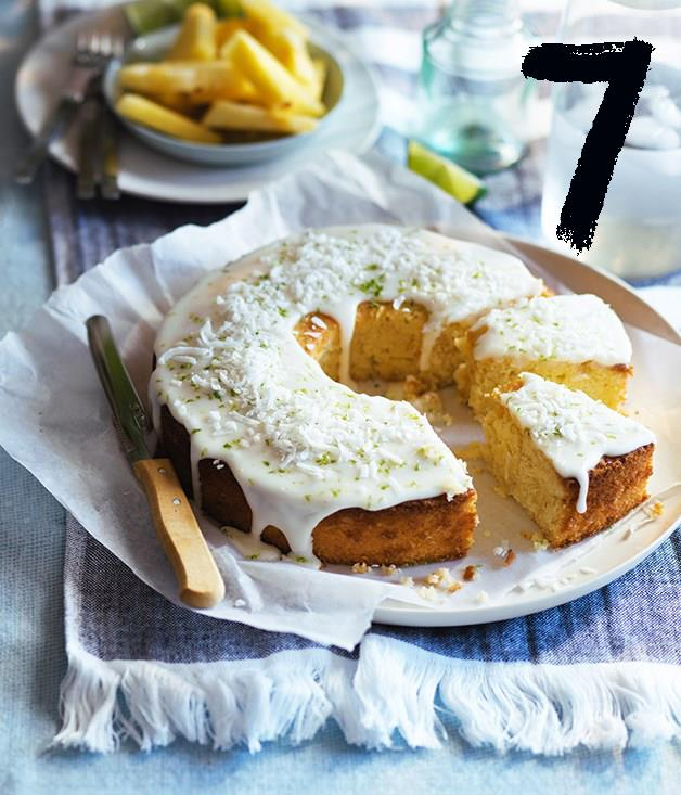 "**[Lime and coconut cake with pineapple glaze](https://www.gourmettraveller.com.au/recipes/browse-all/lime-and-coconut-cake-with-pineapple-glaze-12944|target=""_blank"")** <br><br> A picnic is no place for a delicate cake. This lime-spiked coconut cake is sturdy enough to transport easily while having a beautiful texture that lasts well for a few days, meaning it can be made in advance. The pineapple glaze adds a touch of the tropical, but to take it further, serve it with sliced pineapple topped with a squeeze of lime juice."