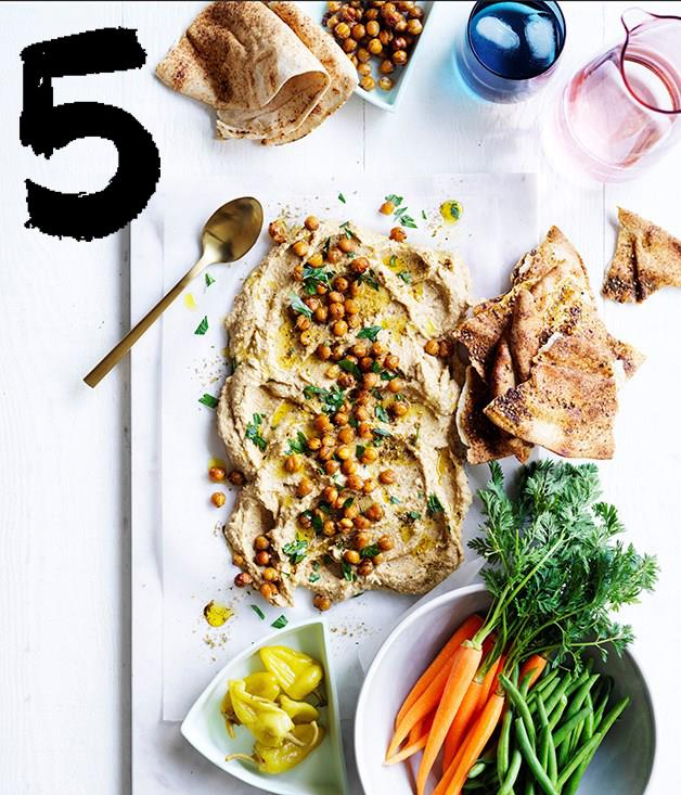 "**[Roasted cauliflower and tahini dip with crudités and flatbread](https://www.gourmettraveller.com.au/recipes/browse-all/roasted-cauliflower-and-tahini-dip-with-crudites-and-flatbread-12909|target=""_blank"")** <br><br> Packed full of flavour, this roasted cauliflower dip is made to please a crowd, especially when served with roast chickpeas for a bit of crunch and raw vegetables for dipping. Bring it to room temperature before serving for the best flavour, then serve it with shards of pita crisped in the oven, as well as soft flatbread for some textural contrast."