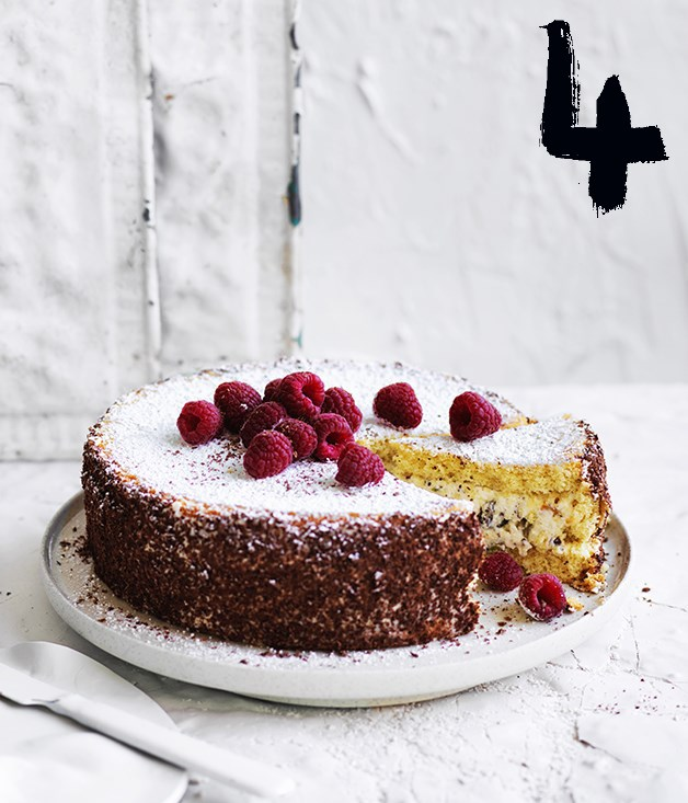 "**[Cassata with grated chocolate](https://www.gourmettraveller.com.au/recipes/browse-all/cassata-with-grated-chocolate-12907|target=""_blank"")** <br><br> Classic versions of cassata involve a covering of marzipan or tinted royal icing, or both. For a lighter version we've skipped that extra sweetness and opted instead for a coating of grated bitter chocolate."