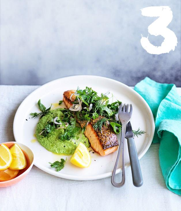 "**[Crisp skinned salmon with pea puree and soft-herb salad](https://www.gourmettraveller.com.au/recipes/fast-recipes/crisp-skinned-salmon-with-pea-puree-and-softherb-salad-13872|target=""_blank"")** <br><br> Elegant and full of great textures, this dish is special enough to serve at your next dinner party yet quick enough to whip up for a midweek meal. To keep things extra simple, strip the herb salad back to just two herbs."