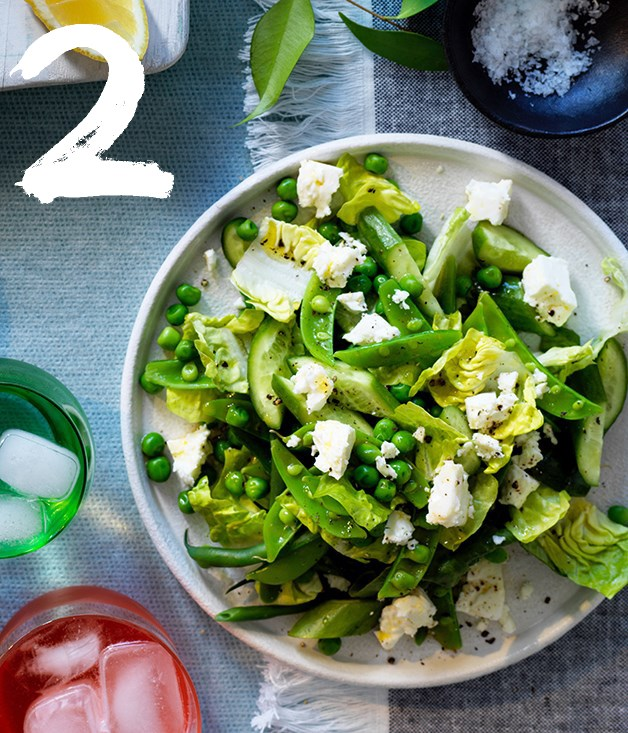 "**[Chopped spring green salad](https://www.gourmettraveller.com.au/recipes/browse-all/chopped-spring-green-salad-12913|target=""_blank"")** <br><br> If you're taking this salad to a picnic or barbecue, transport the greens and the dressing separately to avoid a soggy salad, then toss them together just before serving for perfect crispness."