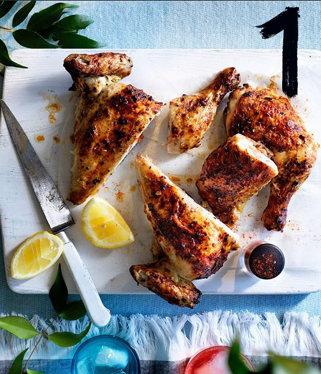 "**[Yoghurt roast chicken](https://www.gourmettraveller.com.au/recipes/browse-all/yoghurt-roast-chicken-12932|target=""_blank"")** <br><br> Roast chicken is excellent picnic fare - cook it the day before, or if you prefer it warm, cook it just before leaving home. Either way, this yoghurt-marinated version is addictively moreish."