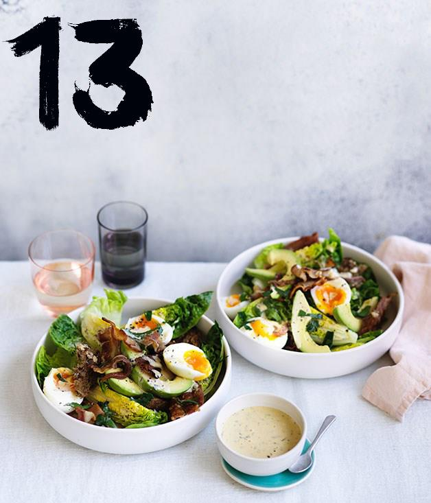 "**[Bacon egg and avocado salad](https://www.gourmettraveller.com.au/recipes/fast-recipes/bacon-egg-and-avocado-salad-13866|target=""_blank"")** <br><br> Combining bacon, eggs, avocado and charred sourdough, this twist on a Caesar salad works as breakfast, lunch or dinner. The creamy avocado is a good foil for the smoky bacon and piquant anchovies."
