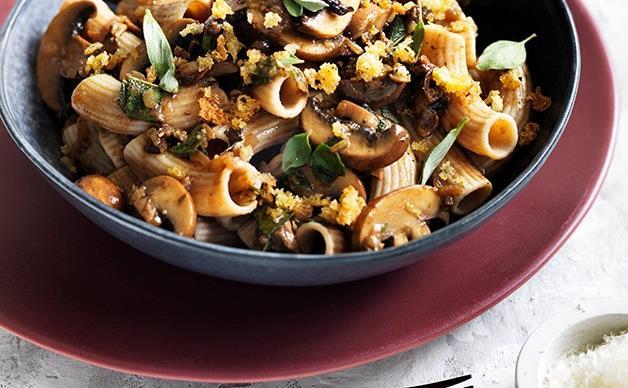 Rigatoni with mushrooms, pecorino and herb crumbs