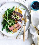 Fillet steak with charred green beans and tahini