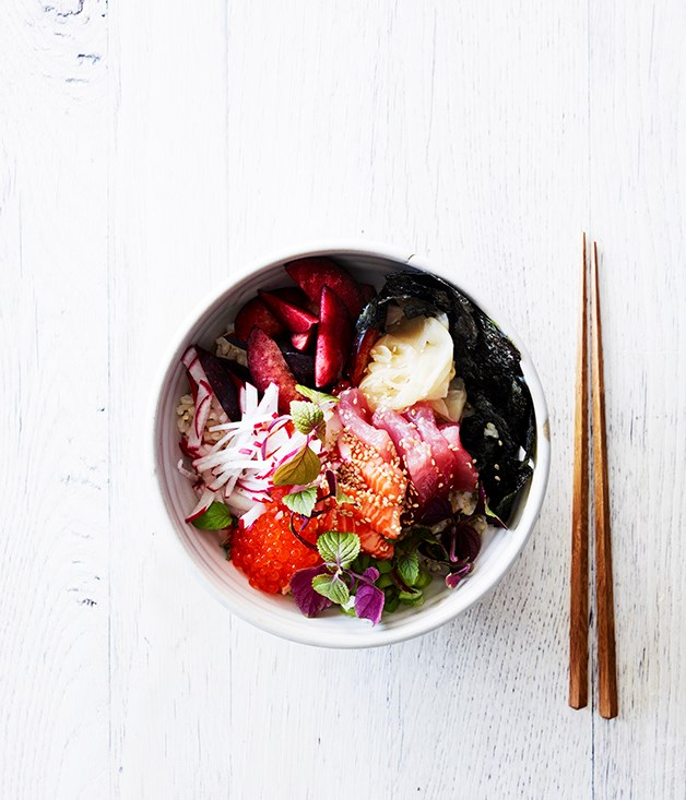 "[Brown rice chirashi zushi](http://www.gourmettraveller.com.au/recipes/healthy-recipes/brown-rice-chirashi-zushi-15547|target=""_blank"")  **Recipe:** Lisa Featherby **Photography:** Chris Chen **Styling:** Geraldine Muñoz"