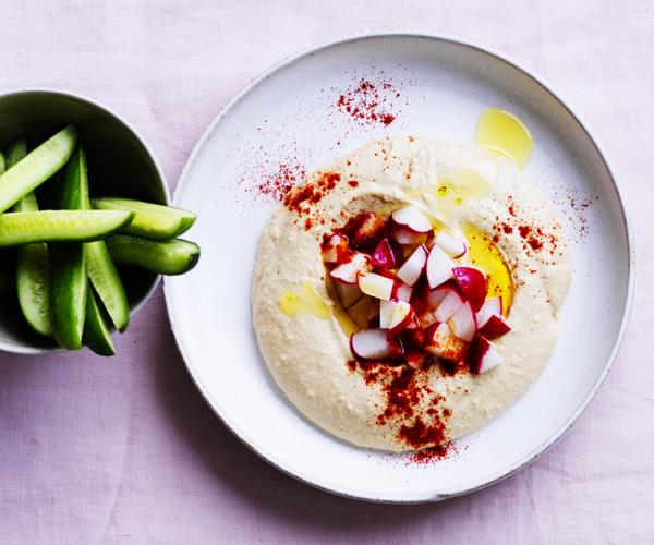 "**[Hummus with radishes and paprika](https://www.gourmettraveller.com.au/recipes/healthy-recipes/hummus-with-radishes-and-paprika-12918|target=""_blank"")**"