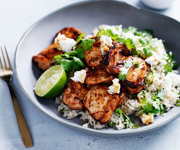 """**[Chipotle-spiced chicken with Mexican green rice](http://www.gourmettraveller.com.au/recipes/fast-recipes/chipotle-spiced-chicken-with-mexican-green-rice-13721