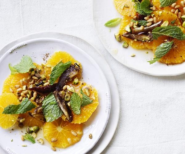 Oranges with dates, nuts, mint and quatre-épices