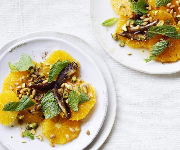 "[Oranges with dates, nuts, mint and quatre-épices](https://www.gourmettraveller.com.au/recipes/healthy-recipes/oranges-with-dates-nuts-mint-and-quatre-epices-15542|target=""_blank"")"