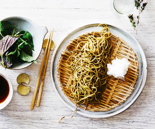Chilled green-tea soba with grated daikon and dipping sauce