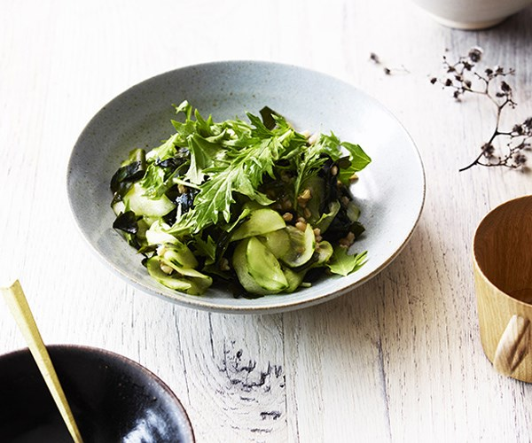 Barley and seaweed salad with cucumber and sesame