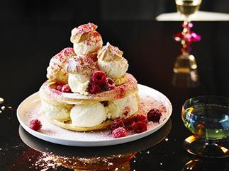 White chocolate and raspberry ice-cream choux stack