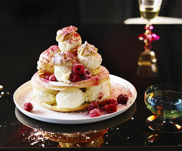 "**[White chocolate and raspberry ice-cream choux stack](https://www.gourmettraveller.com.au/recipes/browse-all/white-chocolate-and-raspberry-ice-cream-choux-stack-12956|target=""_blank"")**"