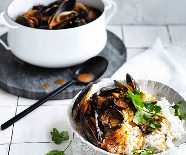 """[Mussels with lap cheong and wood-ear mushrooms](http://www.gourmettraveller.com.au/recipes/fast-recipes/mussels-with-lap-cheong-and-wood-ear-mushrooms-13845