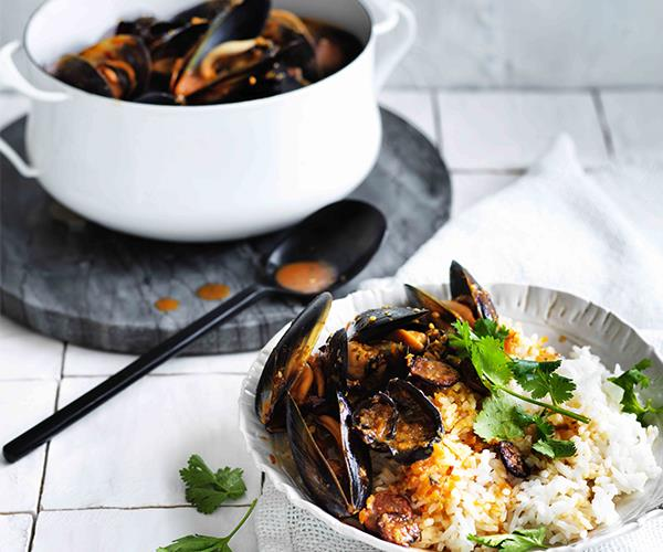 "**[Mussels with lap cheong and wood-ear mushrooms](https://www.gourmettraveller.com.au/recipes/fast-recipes/mussels-with-lap-cheong-and-wood-ear-mushrooms-13845|target=""_blank"")**"
