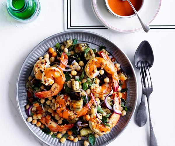 Charred prawns, eggplant and chickpeas with roast tomato vinaigrette