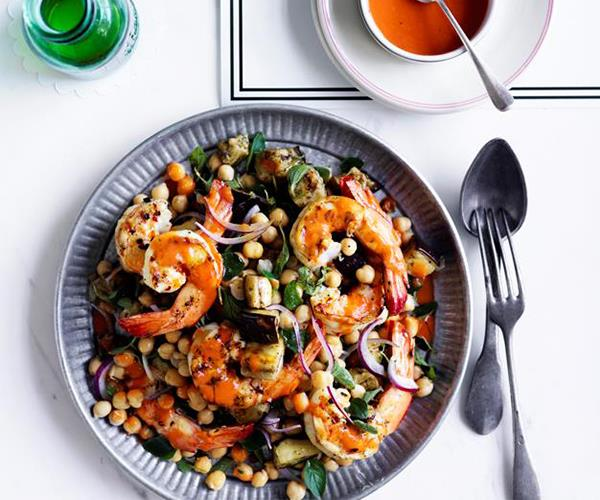 "**[Charred prawns, eggplant and chickpeas with roast tomato vinaigrette](https://www.gourmettraveller.com.au/recipes/fast-recipes/charred-prawns-eggplant-and-chickpeas-with-roast-tomato-and-vinaigrette-13855|target=""_blank"")**"