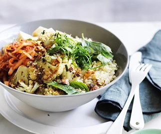 Cauliflower, silken tofu and walnut rice bowl
