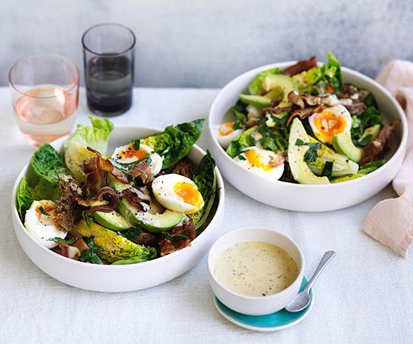 "**[Bacon, egg and avocado salad](https://www.gourmettraveller.com.au/recipes/fast-recipes/bacon-egg-and-avocado-salad-13866|target=""_blank"")**"
