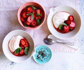 Peppery strawberries with basil and goat's curd cream