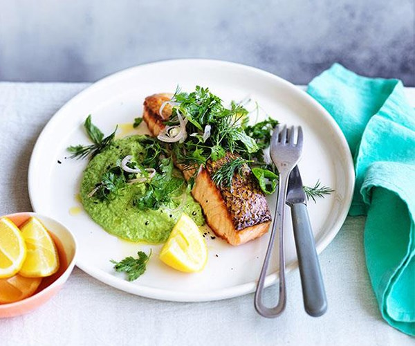 """[Crisp-skinned salmon with pea purée and soft-herb salad](https://www.gourmettraveller.com.au/recipes/fast-recipes/crisp-skinned-salmon-with-pea-puree-and-softherb-salad-13872