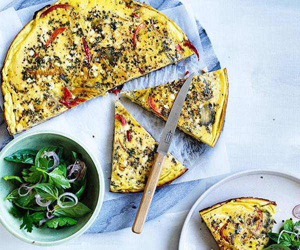 "[Piperade frittata with shallot and herb salad](https://www.gourmettraveller.com.au/recipes/fast-recipes/piperade-frittata-with-shallot-and-herb-salad-13882|target=""_blank"")"