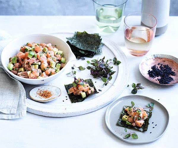 Sashimi tartare with avocado and smoky miso mayo