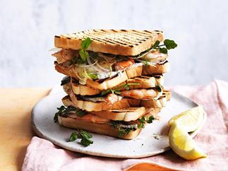 Charred prawn sandwich with fennel, lemon myrtle and lime